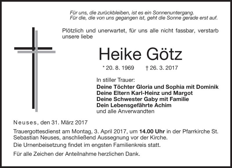 Traueranzeigen Von Heike Gotz Franken Gedenkt De